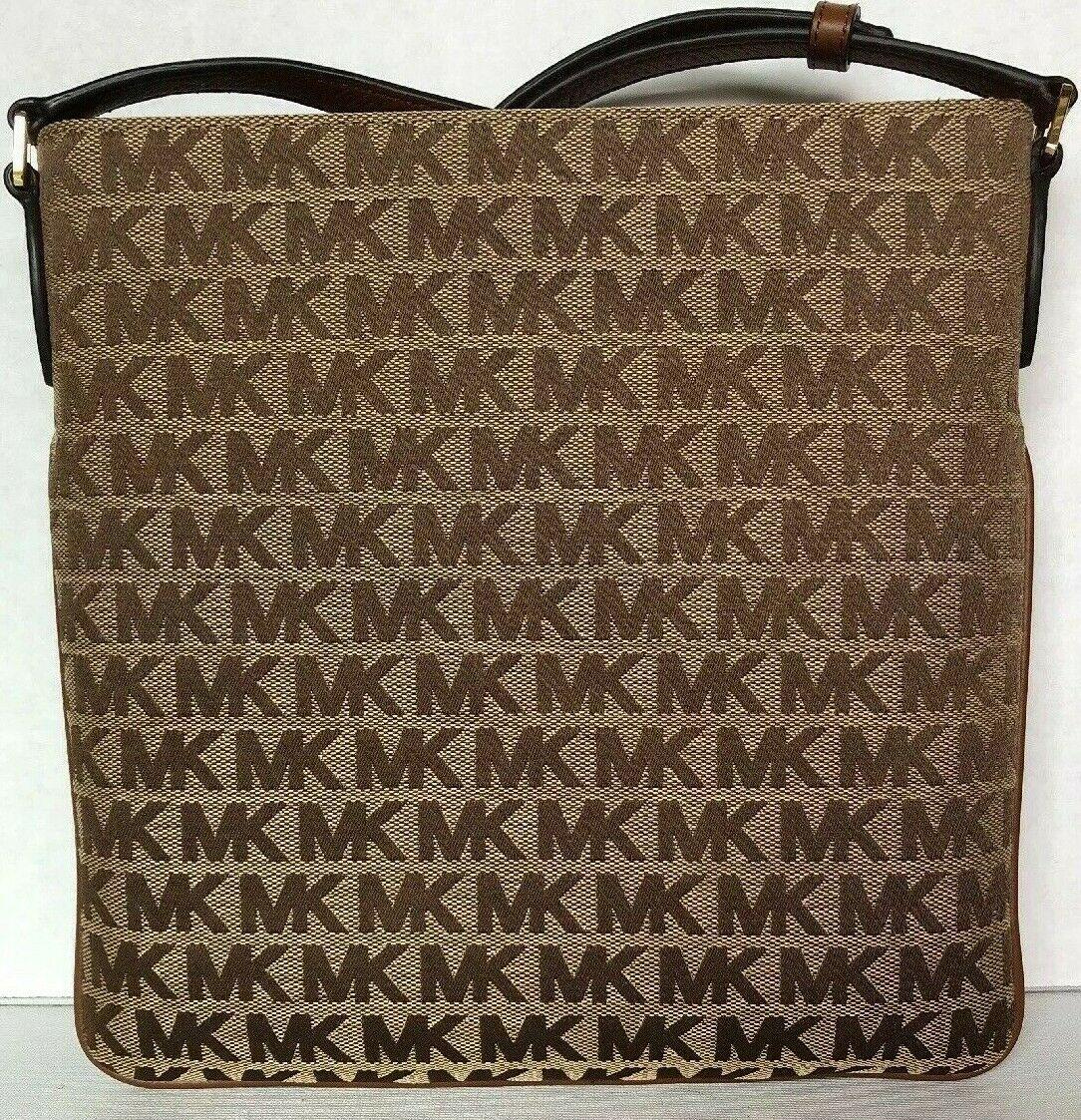 New Michael Kors Connie Large NS Crossbody Bag Jacquard Beige / Ebony