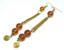 Faux Amber Glass Bead Gold Tone Abstract Dangle Earrings - $19.79