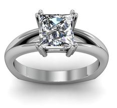 Elegant Princess Cut CZ Wedding Solitaire Ring 14k White Gold Plated 925 Silver  - $51.99