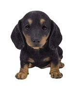 Black and Tan Short Legged Dachshund Puppy Dog Home Decorative Resin Figurine - $24.74