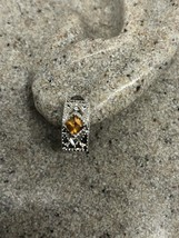 Vintage Citrine Earrings Deco Studs 925 Sterling Silver - $51.48