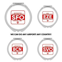 Airport Code : Gift Compact Mirror Personalized Any City Aviator Pilot A... - $12.99