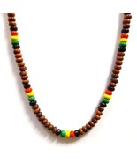 BROWN RASTA REGGAE JAMAICAN SURFER BEACH STYLE BEADED NECKLACE WITH CLASP - $12.29