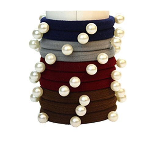 Set of 10 Fashion Durable Beads Seamless Ponytail Holders, Dark Color