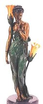 """32""""H """"Egyptian Girl"""" (Left Facing) Solid Bronze Sculpture Lamp - by Colinet - $1,567.02"""