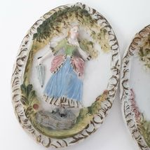 """Hand Painted Pastel Bisque Wall Plaques, Colonial Pair. """"Occupied Japan"""" image 4"""