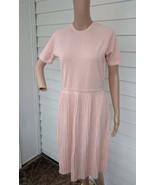Pale Salmon Pink Dress Retro Knit Wool Short Sleeve Vintage Goldworm S - $58.00