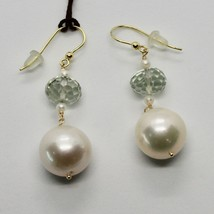 Yellow Gold Earrings 18k 750 pearls freshwater and Prasiolite Made in Italy image 2