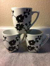 (3) COVENTRY  COFFEE MUGS / CUPS-- ANTOINETTE BLACK--PORCELAIN---FREE SH... - $28.07