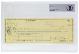 Ben Hogan Signed Personal Check #3527 7/3/1991 Slabbed BAS - $277.19
