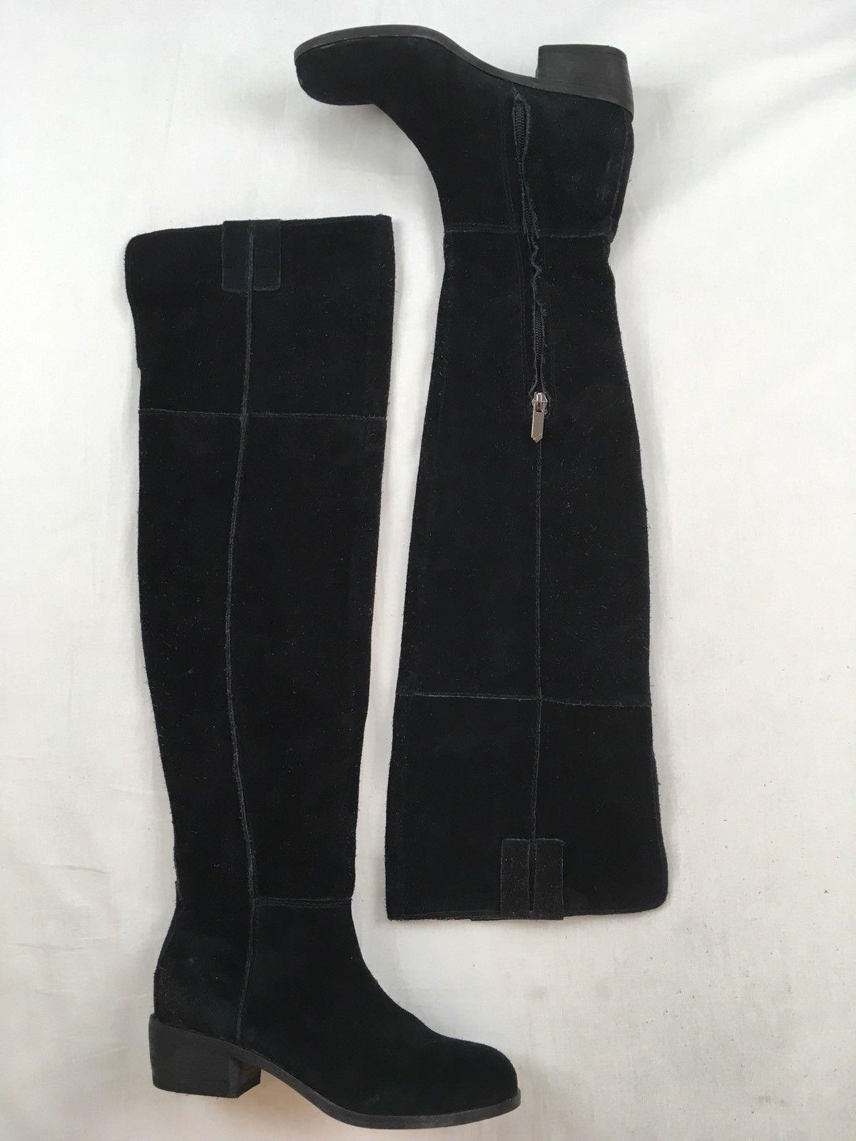 f14970bada6  299 SAM EDELMAN Johanna Tall Leather Suede OTK Over The Knee Boots Black 4
