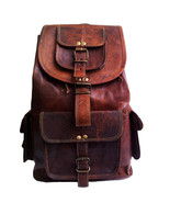 "New 16"" Genuine Rustic Leather Brown Travel Casual Ladies Backpack Rucks... - $63.55"