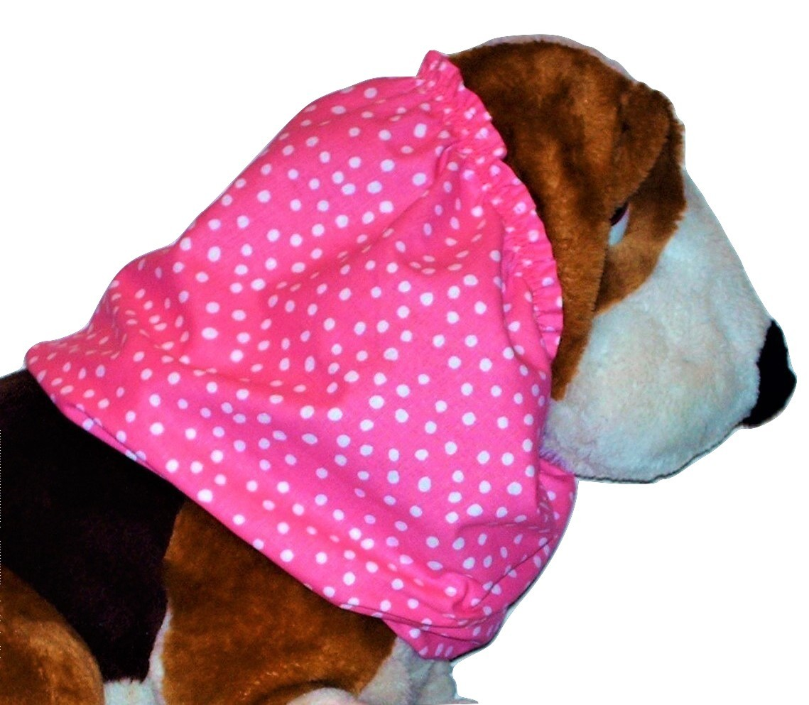 Dog Snood Bright Pink White Irregular Dots Cotton by Howlin Hounds Size Large