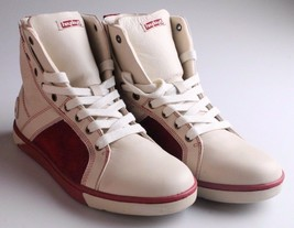 Heyday Mens Shift Classic Cream Cherry Red Leather Shoes Fashion Sneakers NIB