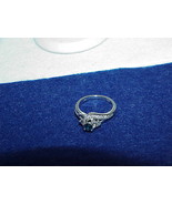 10kt .25ct Blue & White Diamond Ring Band White Gold  Size 7 Solitaire C... - $593.99