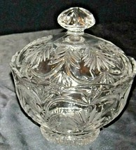 Heavy Etched Cut Glass Bowl with Lid AA20-CD0088 Vintage