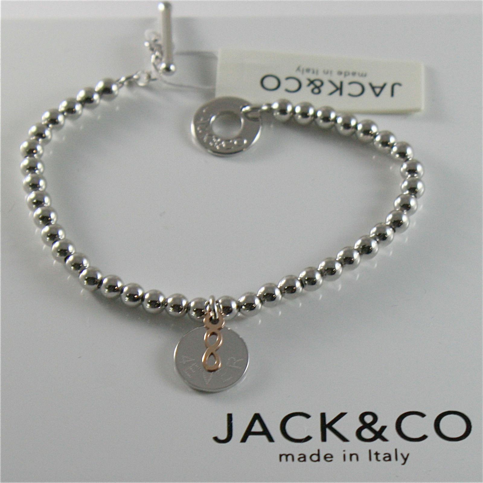 Silver 925 Bracelet Jack&co with Balls Shiny Gold round Pendant & Pink 9 KT