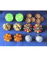 Vintage Beaded Cluster Clip & Screwback Earrings - Rhinestones, Sequins,... - $12.99