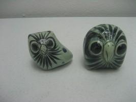 Vintage Pair of Porcelain Green Owls Figurine H... - $12.82