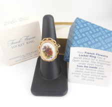 Vintage Avon Ring French Flowers Locket Size 8 to 8.75 Large Costume Jewelry - $17.95