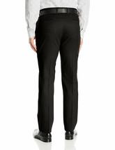 Men's Formal Slim Fit Slacks Trousers Business Black Belted Dress Pants 38x32 image 2