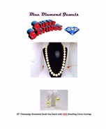"""22"""" 15mm Champagne South Sea Simulated Pearls  + FREE EARRINGS! & Diamon... - $125.00"""