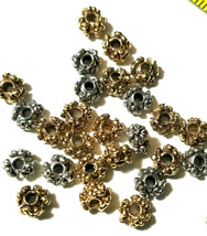 2 - Flowers Floral Spacer Fine Pewter Beads - 6x6x3.5mm 2mm Hole image 2
