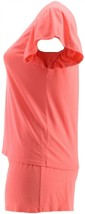 AnyBody Cozy Knit Flutter-Sleeve Short Set Hot Coral 1X NEW A354751 - $24.73