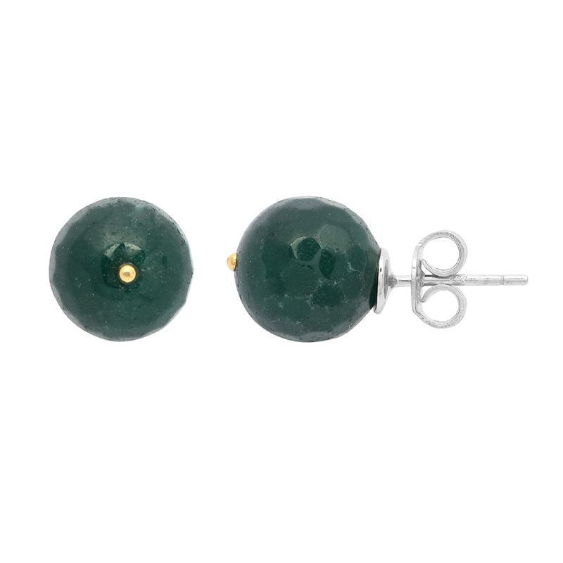 New Round Green Onyx Gemstone 925 Sterling Silver Party Stud Earring SHER0399