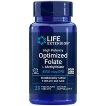 L-Methylfolate 8500mcg High Potency Optimized Folate Life Extension 30 pills - $12.98