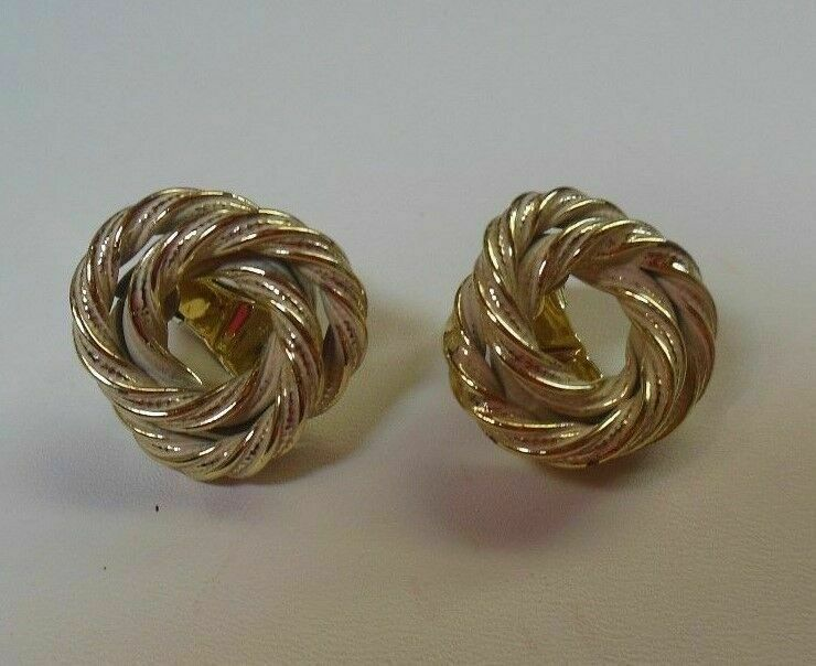 Primary image for Vintage Marino Signed Gold-tone & White Enamel Knot Clip-on Earrings