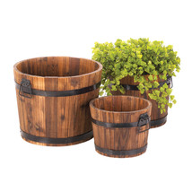 Planters, Decorative Wooden Gardening Large Outdoor Planters Barrel - $72.41