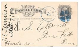Scott UX5 1880 Belmond Iowa Blue CDS Fancy Cork Cancel Wedges Postal Card - $4.99