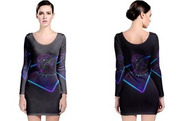 Black Panther Neon Mode Long Sleeve Bodycon Dress - $28.99+
