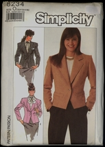 New 80s Size 12 14 16 Princess Seam Jacket Simplicity 8234 Pattern Bust ... - $6.99