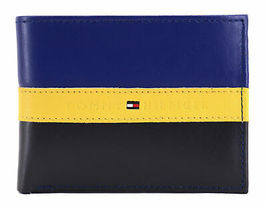 Tommy Hilfiger Men's Leather Wallet Passcase Billfold Rfid Navy Black 31TL220053 image 4