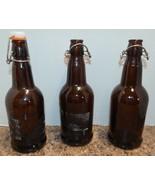 16 oz Home Brewing 3 Beer Beverage Bottle Amber Glass Fliptop Reclosable... - $7.19