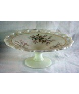 "Anchor Hocking Milk Glass Lace Edge Hand Painted Compote 10 3/4"" - $9.44"