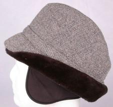 Vtg Winter Fedora-Wool-Ear Flaps-Charcoal Grey-Large Union Tag-7 1/4 - $35.52