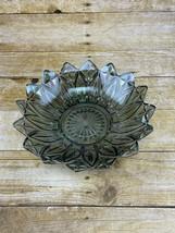 "Vintage Federal Glass Smoke Iridescent Carnival Glass Serving Bowl Petals 10"" - $18.99"