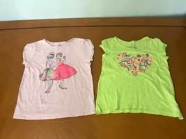 Lot of 2 Girls Kids Children's Place Green & Pink T-Shirts Size Large 10-12 - $9.89
