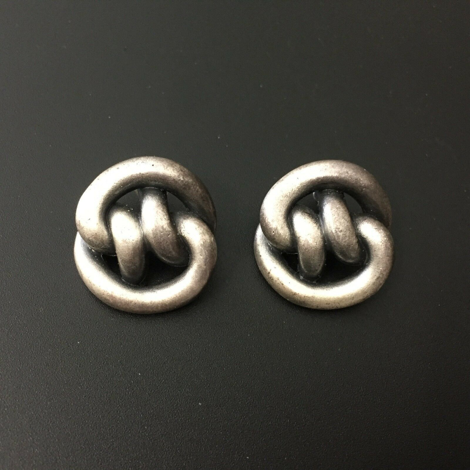 "Primary image for Vintage Pewter Silver Tone Chunky Knot Stud Earrings Statement 1"" Minimalist"