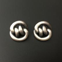 "Vintage Pewter Silver Tone Chunky Knot Stud Earrings Statement 1"" Minimalist - $25.00"