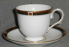 LENOX Bone China REGENCY BLACK PATTERN Cup and Saucer MADE IN USA - $14.84