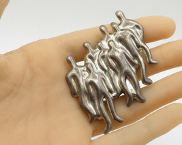 925 Sterling Silver - Vintage Abstract Group of Men Brooch Pin - BP1278 - $86.82