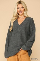 V-neck Solid Soft Sweater Top With Cut Edge Charcoal - $51.95
