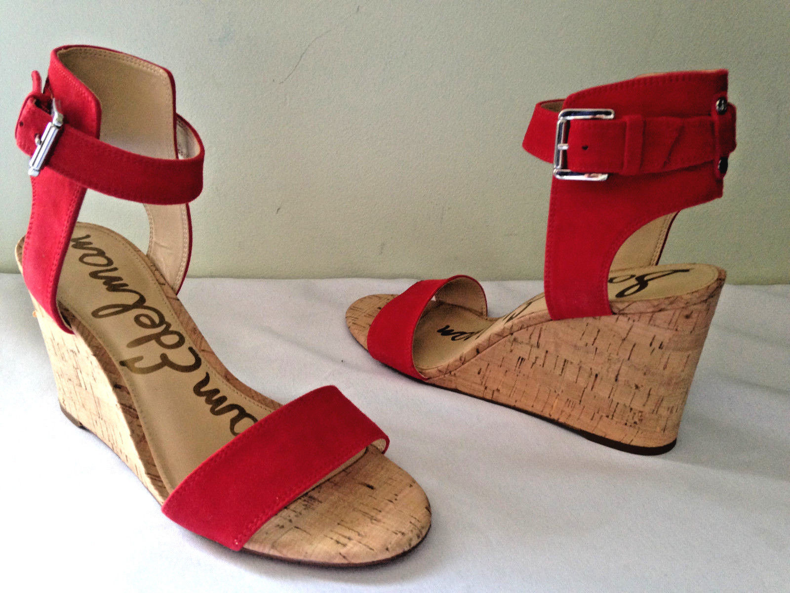 e5a07f0e0a4f NEW Sam Edelman Red Suede Leather WILLOW Wedge Open Toe Sandals 8.5 M  140