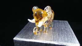 GLASS FIGURINE minature ELEPHANT  - small animal collectible-NEW/GIFT BO... - $8.90