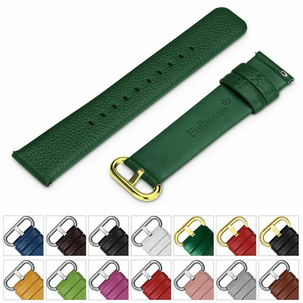 Primary image for Leather Strap Watch Band Buckle Quick Release Genuine Gold 18mm 20mm 22mm 24mm