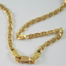 18K YELLOW AND WHITE GOLD CHAIN, EYE FLAT OVAL LINK 3mm NECKLACE MADE IN ITALY image 5